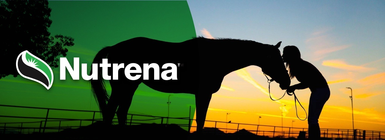 Nutrena logo with woman and horse at sunset