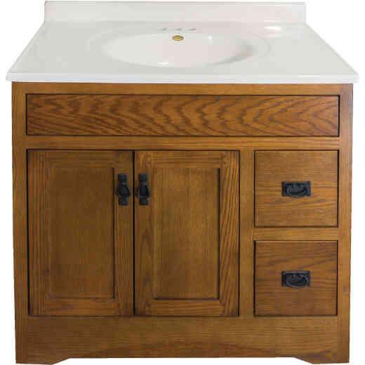 CraftMark Craftsmen Estate Oak 36 In. W x 34 In. H x 21 In. D Vanity Base, 2 Door/2 Drawer