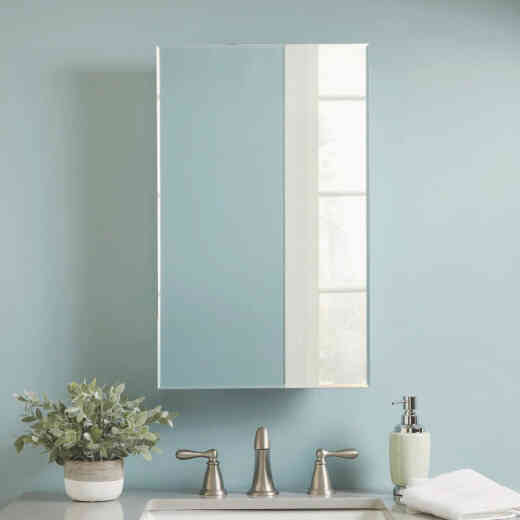 Zenith Zenna Home 16 In. W. x 26 In. H. x 4.5 In. D. Single Mirror Surface/Recess Mount Frameless Beveled Medicine Cabinet