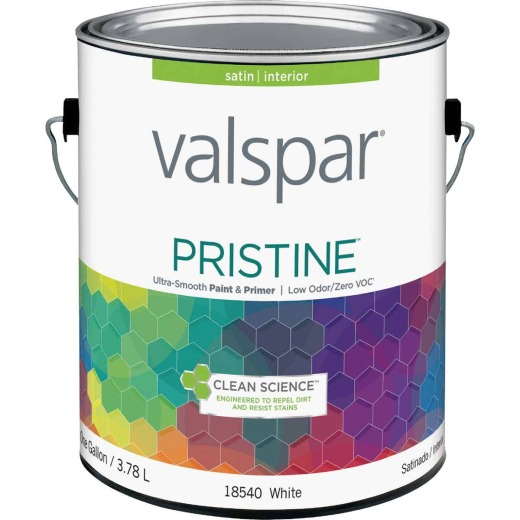 Valspar Pristine 100% Acrylic Paint & Primer Satin Interior Wall Paint, White, 1 Gal.