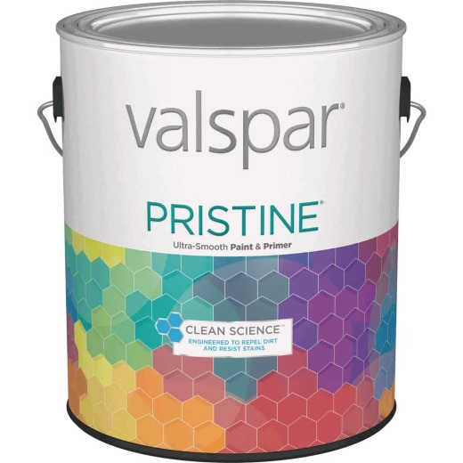 Valspar Pristine 100% Acrylic Paint & Primer Semi-Gloss Interior Wall Paint, White, 1 Gal.