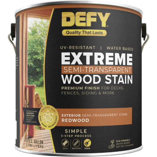 DEFY Extreme Semi-Transparent Exterior Wood Stain, Redwood, 1 Gal. Can