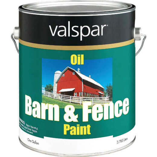 Valspar Oil Paint & Primer In One Low Sheen Barn & Fence Paint, White, 1 Gal.